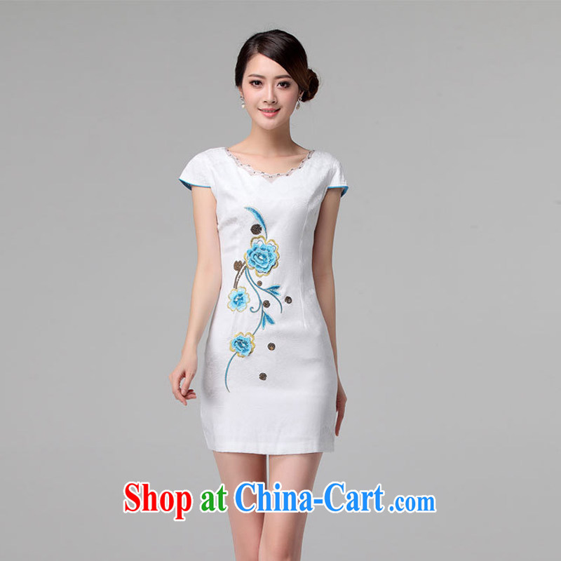 High quality robes women summer 2015 New Style Name Yuan beauty Peony embroidery petal collar dress 60 m White XL