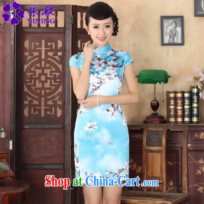 According to fuser summer stylish new Chinese improved Chinese qipao, for a tight Classic tray snaps cultivating Chinese qipao dress LGD_D 0297 _2 sky XL