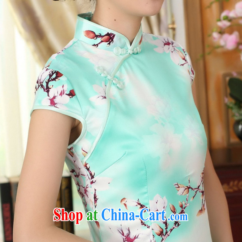 According to fuser summer stylish new Chinese improved Chinese qipao, for a tight Classic tray for cultivating Chinese cheongsam dress LGD/D 0297 #2 sky XL, according to fuser, shopping on the Internet