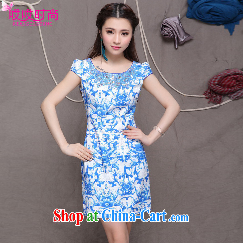 Ah, ah, stylish summer 2015 new female high-end ethnic wind retro beauty graphics thin cheongsam dress #9901 blue blue XXL