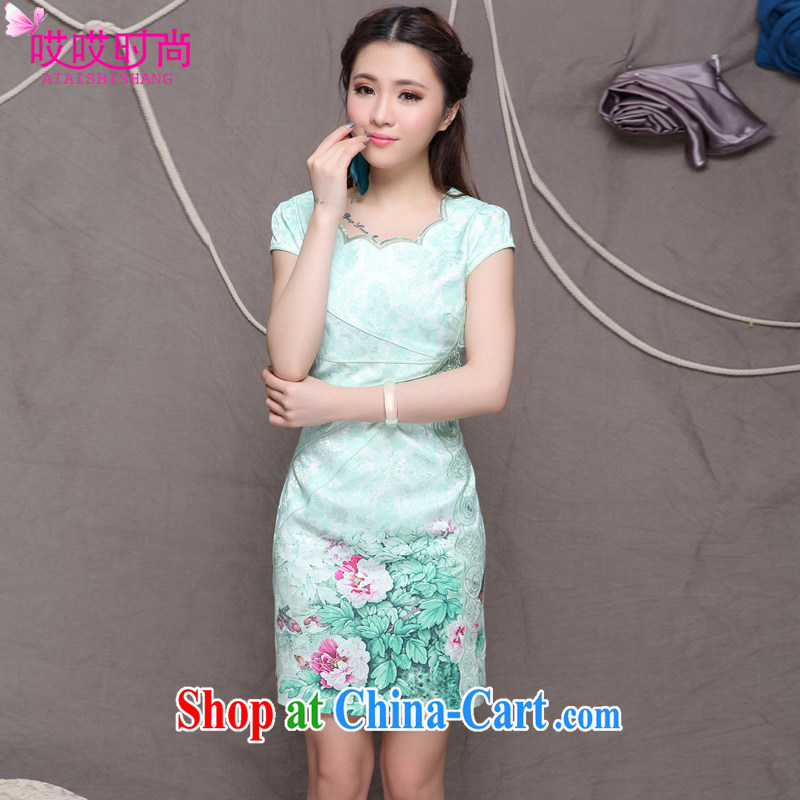 Ah, ah, and stylish summer 2015 new women with stylish Chinese classical beauty graphics thin outfit _9902 green XXL