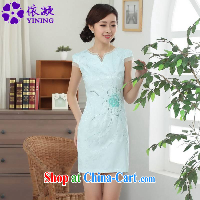 According to fuser summer stylish new ethnic-Chinese improved Chinese qipao rounded ends to spend cultivating short Chinese qipao dress LGD_D 0315 _ -A sky 2 XL