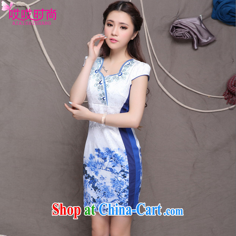 Ah, ah, stylish summer 2015 new women with stylish Chinese classical beauty graphics build outfit #9906 blue XXL