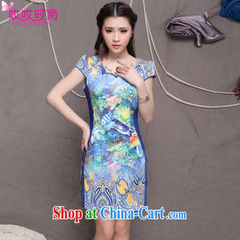 Ah, ah, stylish summer 2015 new women with stylish Chinese classical beauty graphics build outfit #9908 blue L