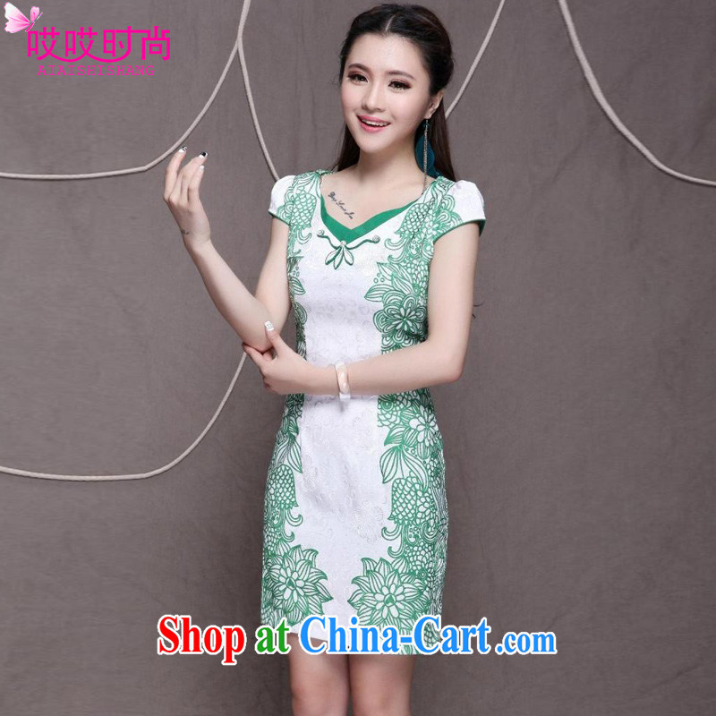 Ah, ah, stylish summer 2015 new female retro beauty graphics thin outfit _9912 green XXL