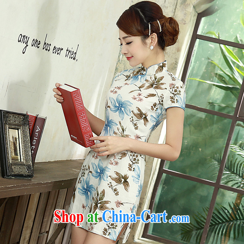 2015 spring and summer new retro improved stylish short, short-sleeved video thin cheongsam dress Q 1073 blue XXL