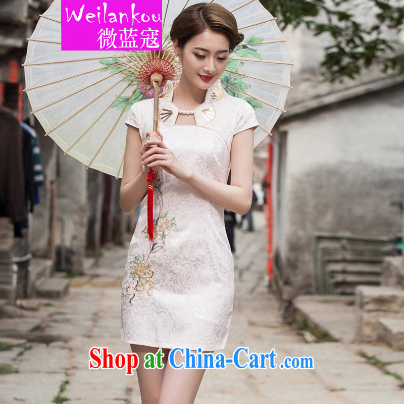 Micro-blue Curtis 2015 new summer fashion improved cheongsam dress daily video thin beauty short cheongsam dress, apricot XL