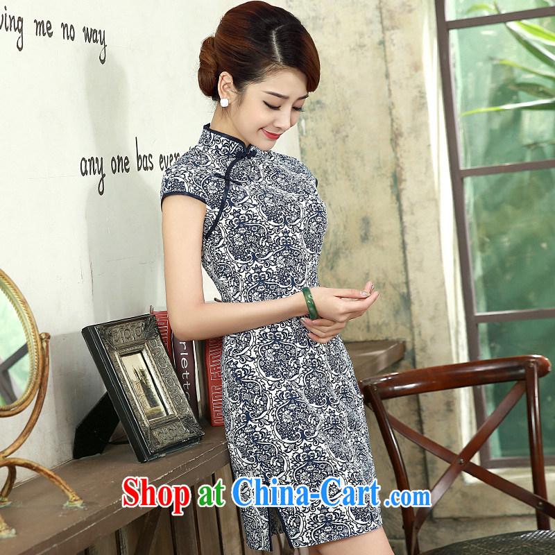 cheongsam dress 2015 new beauty routine in the basket the short, short-sleeved retro dresses Q 1074 dark blue XXL