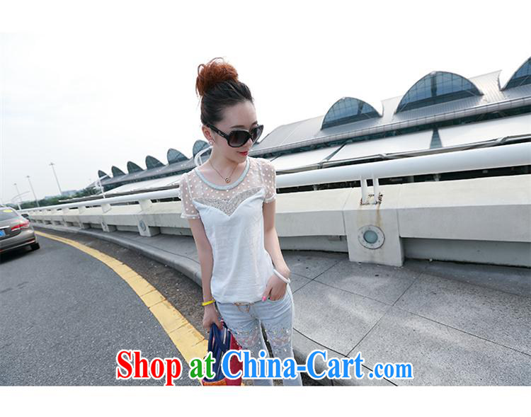 Qin Qing store 2015 spring and summer new Korean fashion ladies Web yarn stitching parquet drill 100 ground crew-neck Openwork cultivating T pension picture color L pictures, price, brand platters! Elections are good character, the national distribution, so why buy now enjoy more preferential! Health