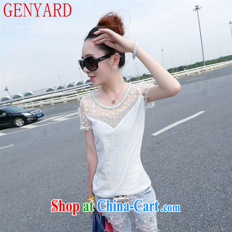 Deloitte Touche Tohmatsu sunny store 2015 spring and summer new Korean fashion female Web yarn stitching parquet drill 100 ground round-collar language empty beauty T pension picture color L, GENYARD, shopping on the Internet