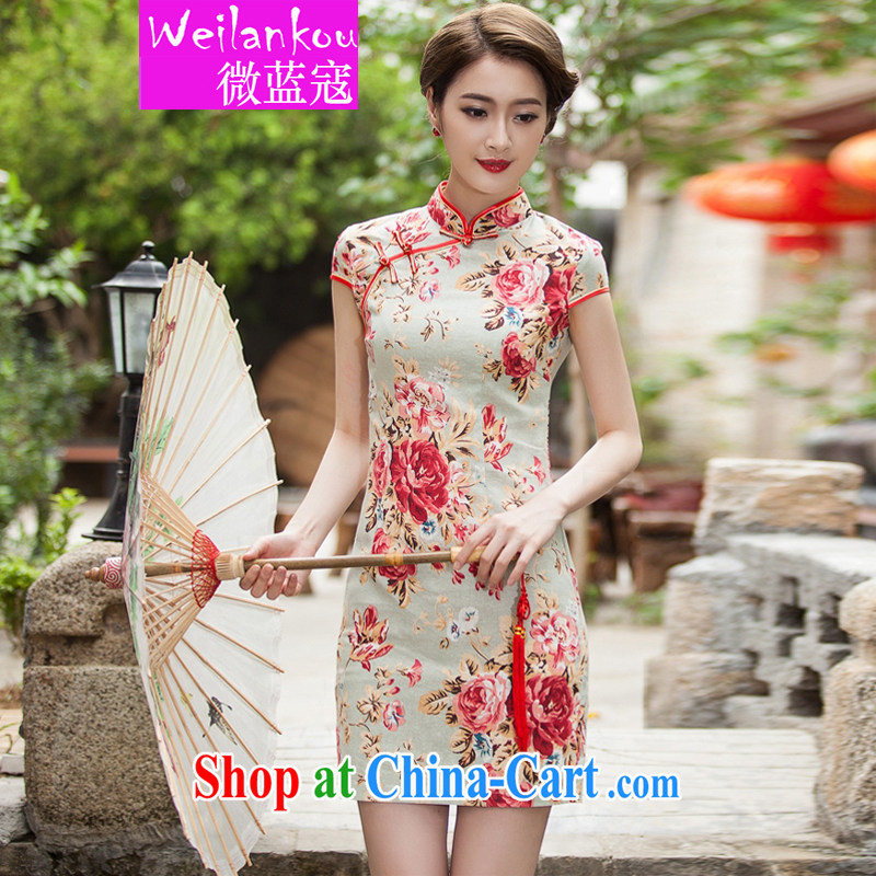 Micro-blue Curtis 2015 summer new, elegant beauty short cheongsam daily improved fashion cheongsam dress suit XL