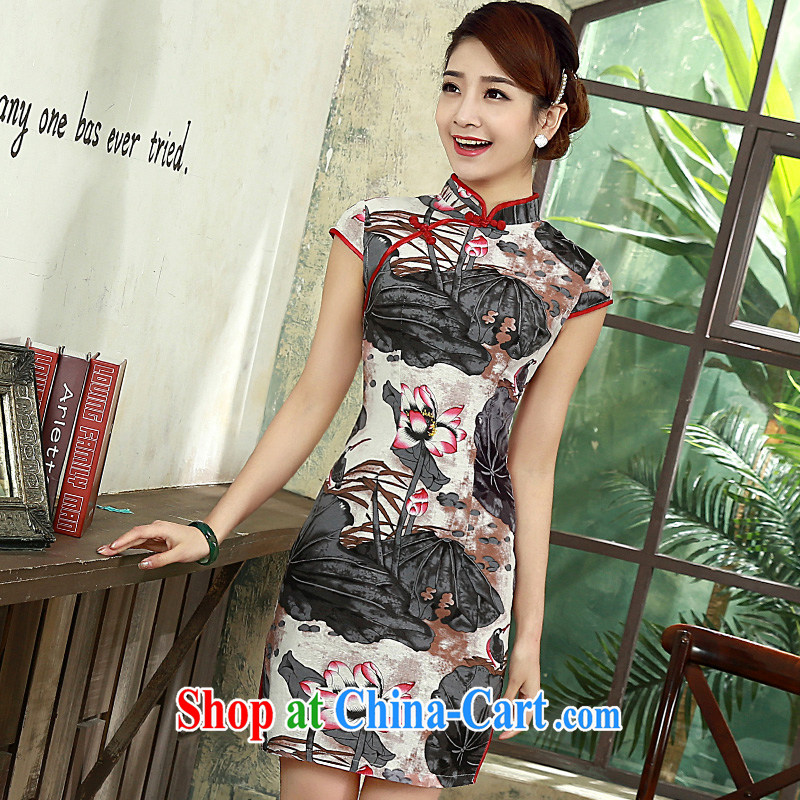 Retro dresses summer 2015 New Daily Beauty graphics thin the cotton the cheongsam Q 1075 fancy XXL