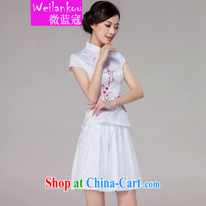 Micro-blue Curtis 2015 summer new female Chinese qipao day dresses high-end retro style two-piece with white XXL
