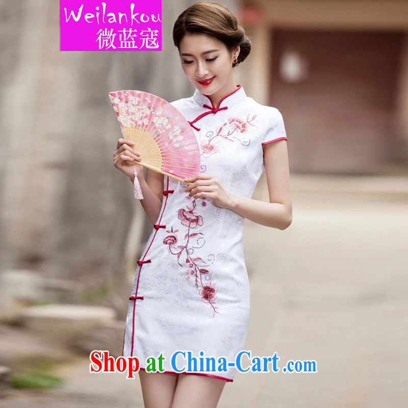 Micro-blue Curtis 2015 summer New Tang with retro improved stylish short, cultivating daily cheongsam dress white L