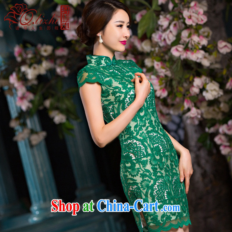 Slim li know that green, cheongsam dress summer new lace cheongsam beauty sense of Ms. improved cheongsam retro QLZ Q 15 6064 green, XL pre-sale 10 days