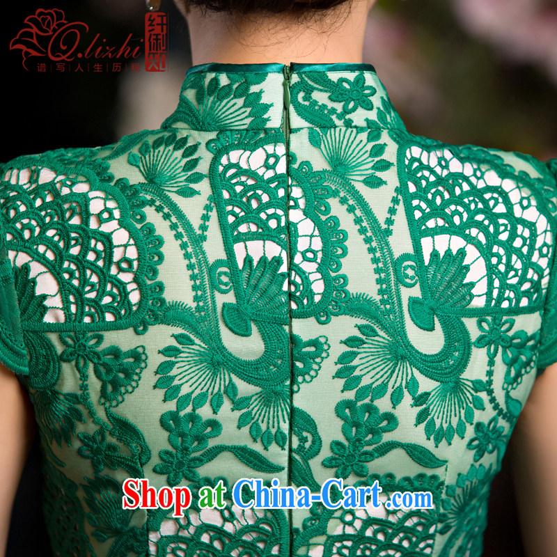 Slim li know that green, cheongsam dress summer new lace cheongsam beauty sense of Ms. improved cheongsam retro QLZ Q 15 6064 green, XL pre-sale 10 days, slim Li (Q . LIZHI), online shopping