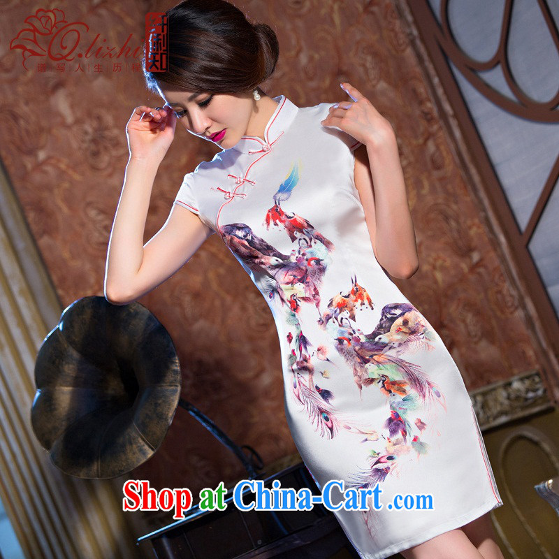 Slim li know light makeup new dresses summer short, short-sleeved retro dresses improved cultivating everyday dress stylish QLZ Q 15 6065 light makeup XXL