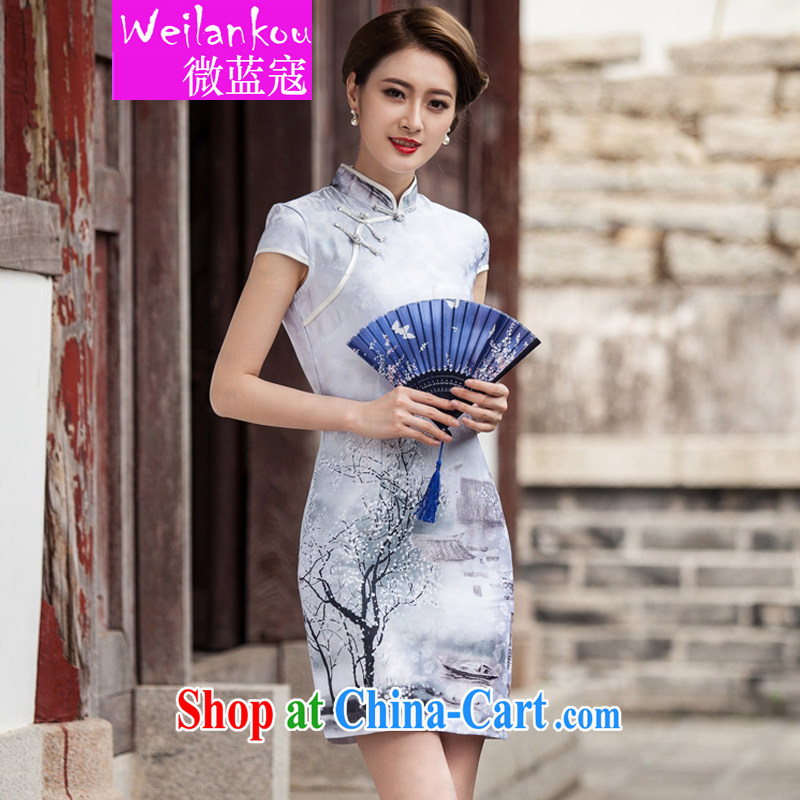 Micro-blue Curtis 2015 new painting classic short-sleeved qipao dress retro fashion China wind everyday robes Chinese Painting (landscape), XL