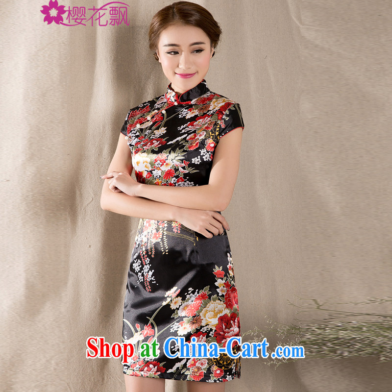 Cherry blossoms floating around 2015 new spring and summer short-sleeved Chinese qipao refined燼ntique China wind women's clothing dresses wine red XL