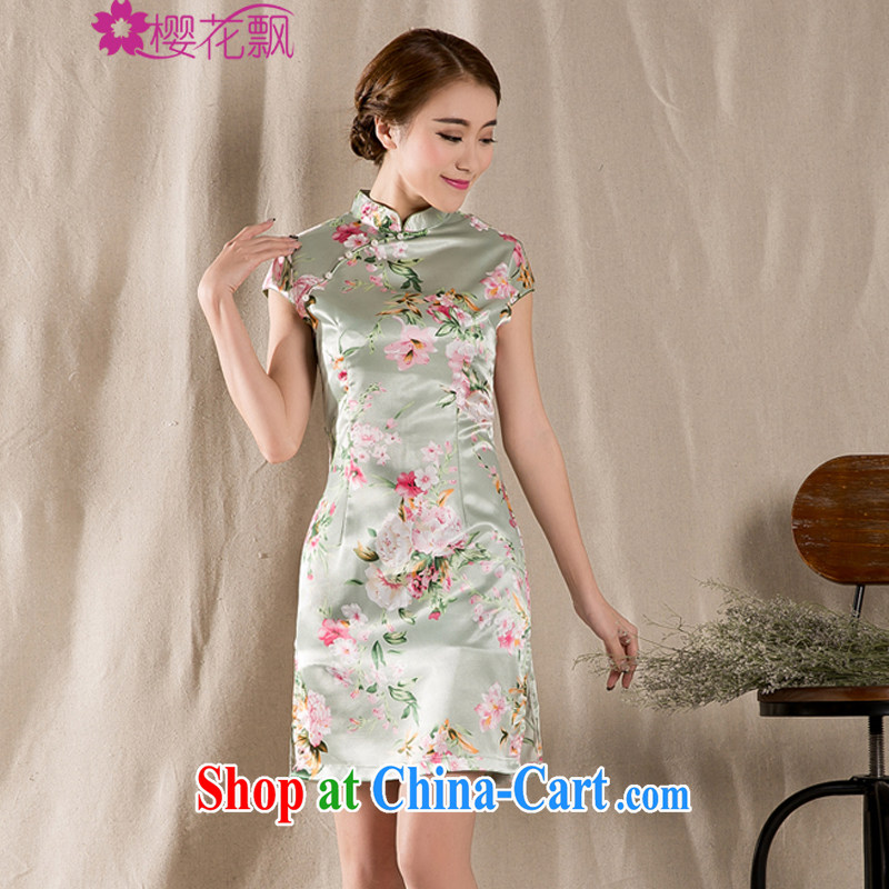 Cherry blossoms floating summer 2015 new tray snap stamp arts and cultural Ethnic Wind improved antique cheongsam dress China wind XL