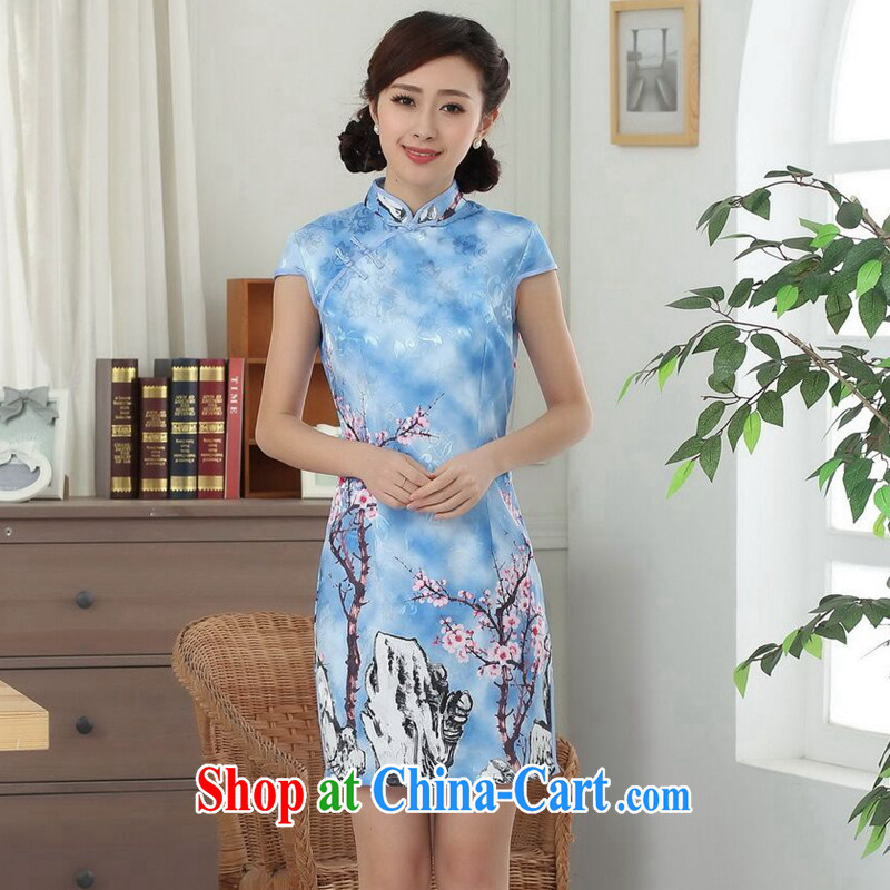 Find Sophie summer Women's clothes new elegance Chinese qipao cotton improved Phillips-head Chinese graphics thin short cheongsam dress such as the color 2 XL