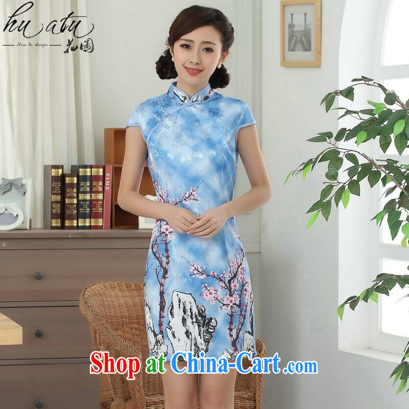 spend the summer Women's clothes new elegance Chinese qipao cotton improved Phillips-head Chinese graphics thin short cheongsam dress such as the color 2 XL