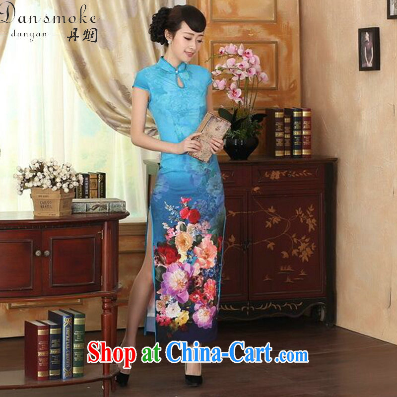 Bin Laden smoke new summer female cheongsam Chinese improved damask water droplets collar short-sleeve cultivating double dinner long robes such as Map Color 2 XL