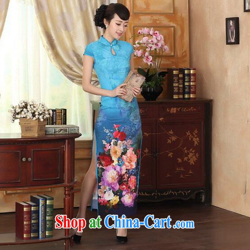 Find Sophie new summer dress cheongsam Chinese improved damask drops short-sleeved cultivating double dinner long cheongsam as shown color 2 XL