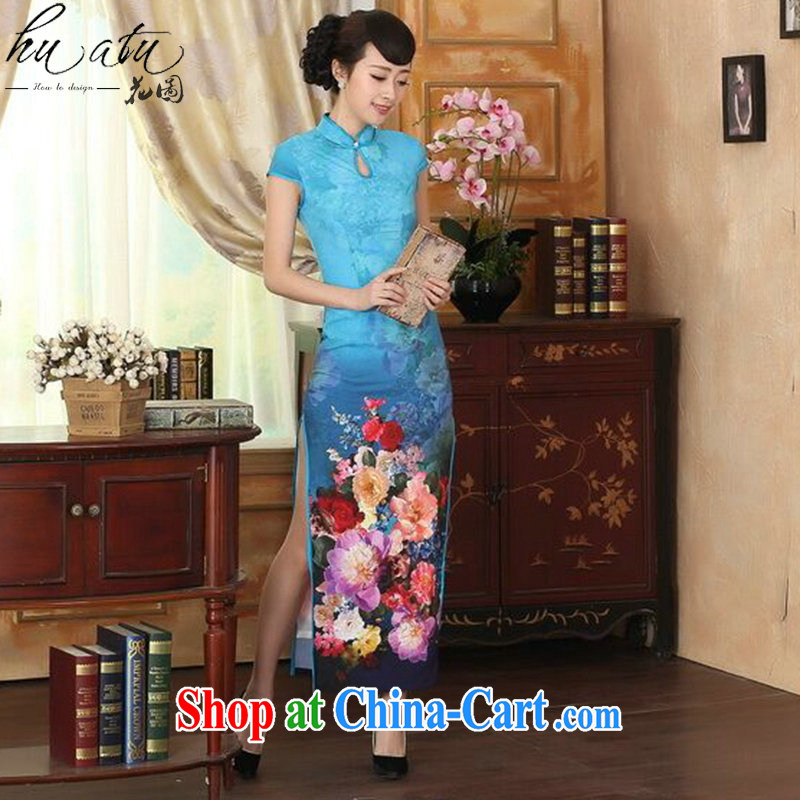 Take the new summer dress cheongsam Chinese improved damask drops short-sleeved cultivating double dinner long robes such as Map Color 2 XL