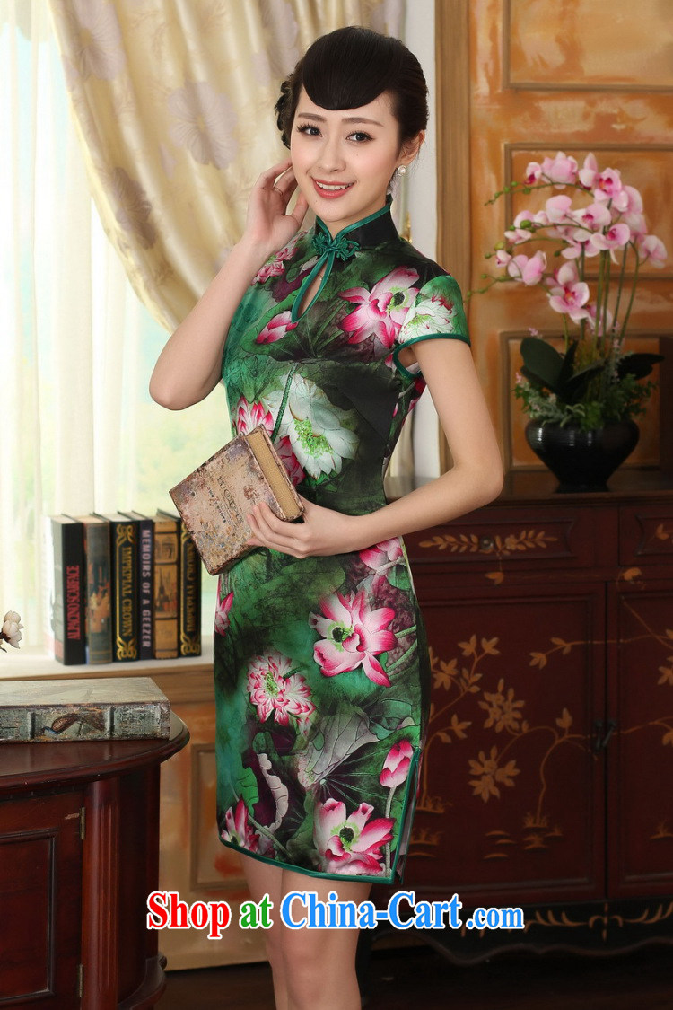 Dan smoke summer dress Lotus Pond Old Shanghai retro upscale silk sauna silk double short-sleeved short cheongsam dress as color 2XL pictures, price, brand platters! Elections are good character, the national distribution, so why buy now enjoy more preferential! Health