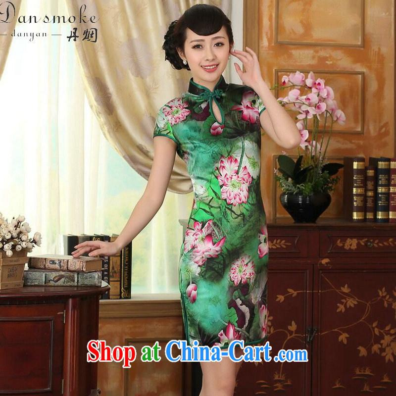Dan smoke summer dress Lotus Pond Old Shanghai retro upscale silk sauna silk double short-sleeved short cheongsam dress such as the color 2 XL, Bin Laden smoke, shopping on the Internet