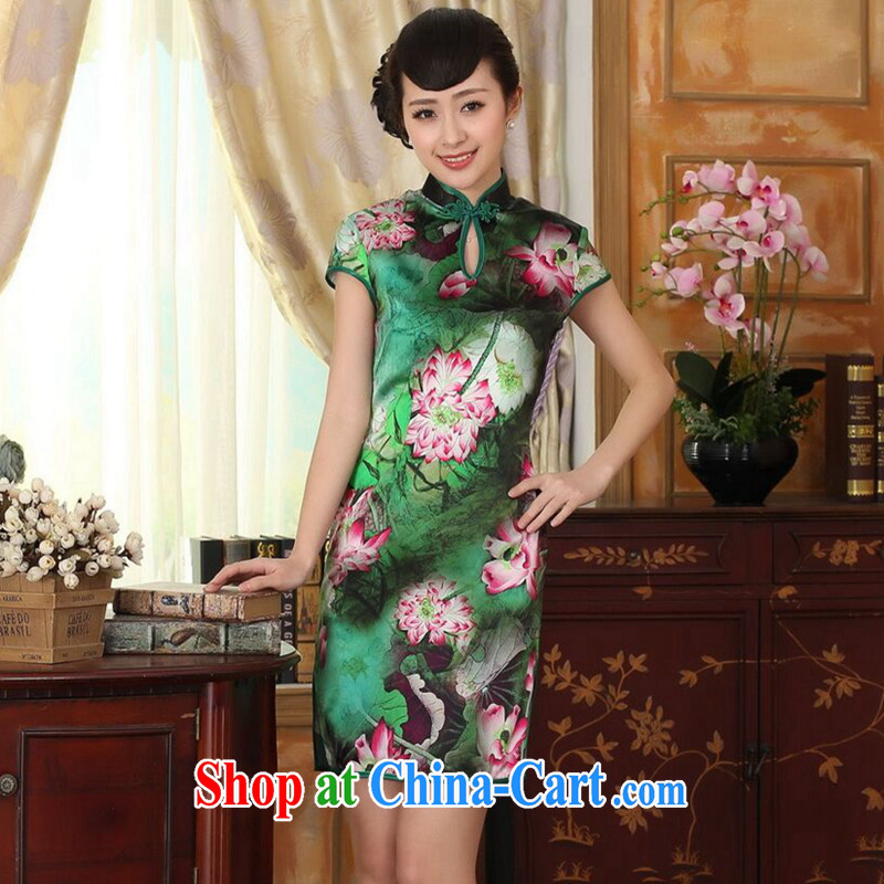 Find Sophie summer dress Lotus Pond Old Shanghai retro upscale silk sauna silk double short-sleeved short cheongsam dress figure-color 2 XL