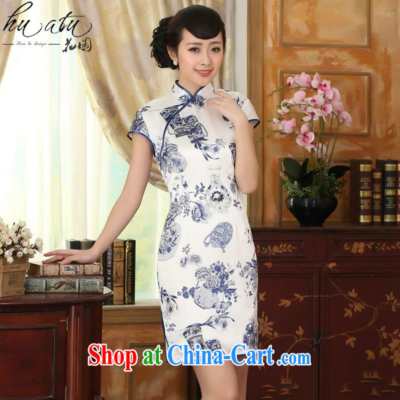 Take the blue and white porcelain beauty stretch Satin Silk Dresses summer female Chinese Antique silk double short cheongsam dress as shown color S
