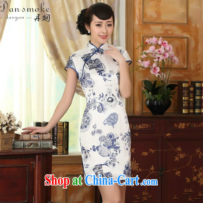 Dan smoke blue and white porcelain beauty stretch Satin Silk Dresses summer female Chinese Antique silk double short cheongsam dress such as the color 2 XL