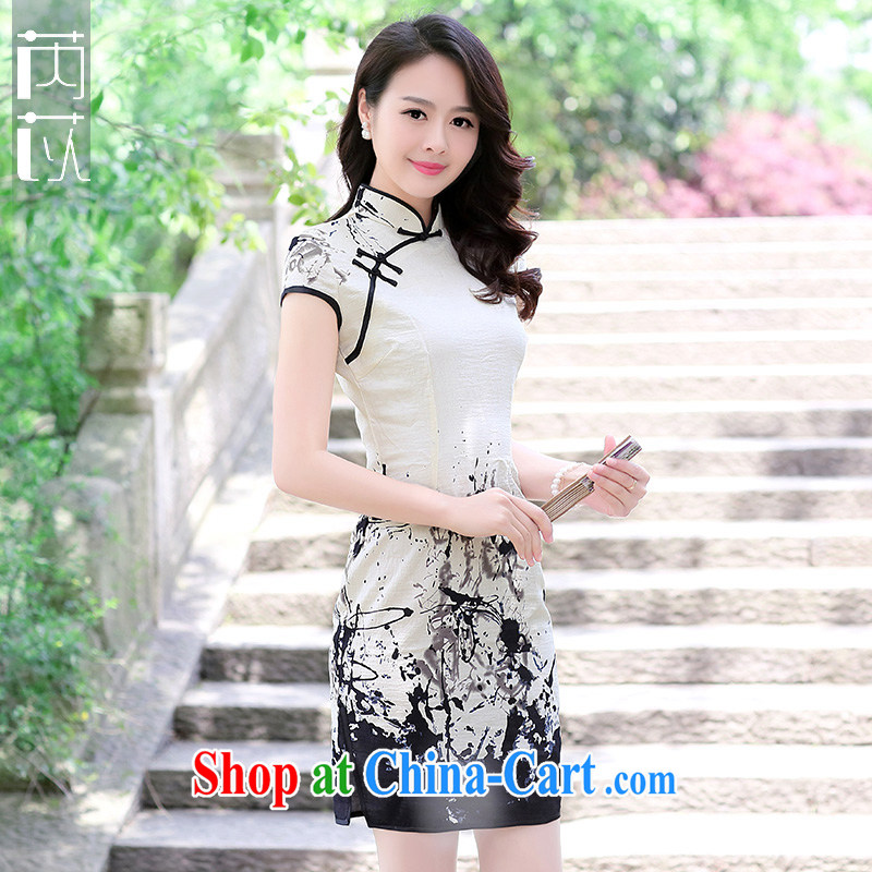 Rawnie_close by 2015 new short-sleeved cotton summer dresses the beauty routine the forklift truck cheongsam dress painting XXL
