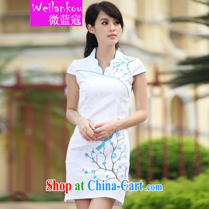 Micro-blue Curtis 2015 China wind embroidery summer cheongsam dress improved stylish dresses sexy dresses replica blue S