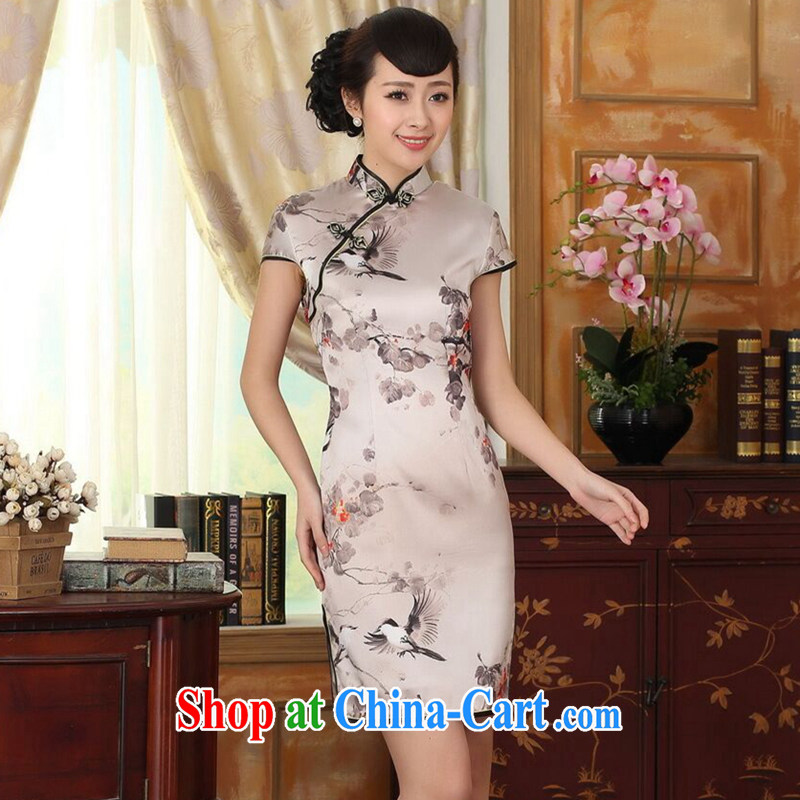 Find Sophie summer Women's clothes silk retro sauna silk poster stretch Satin beauty double short Chinese qipao gown improvement such as the color 2 XL