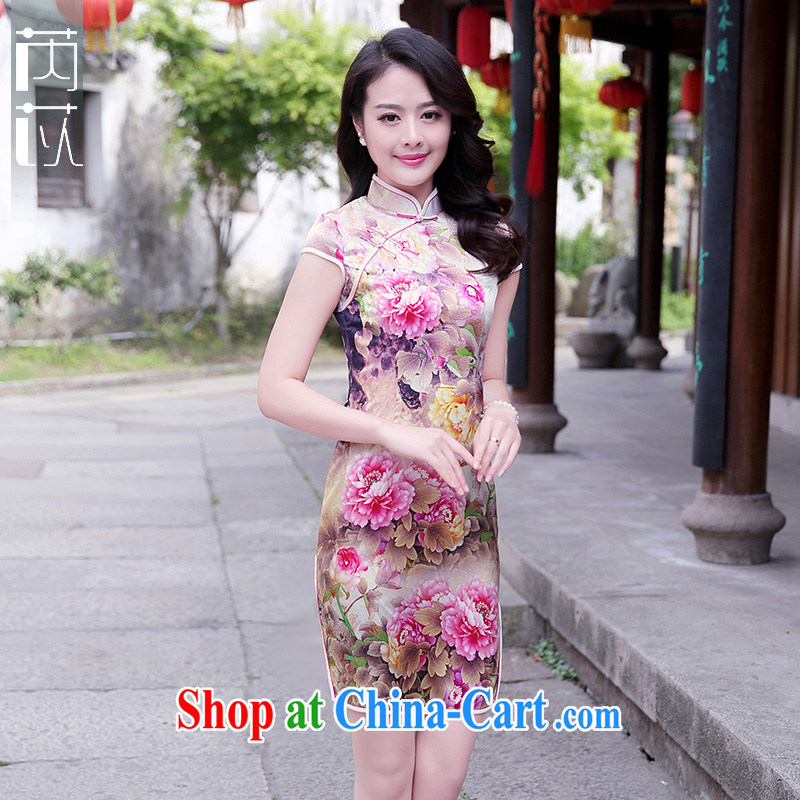 Rawnie/close by summer 2015 new improved stylish Silk Cheongsam short, Retro beauty daily outfit skirt toner Peony S