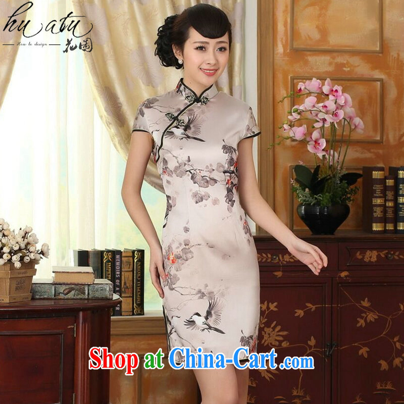 spend the summer Women's clothes silk retro sauna silk poster stretch Satin beauty double short Chinese qipao gown improvements such as the color 2 XL