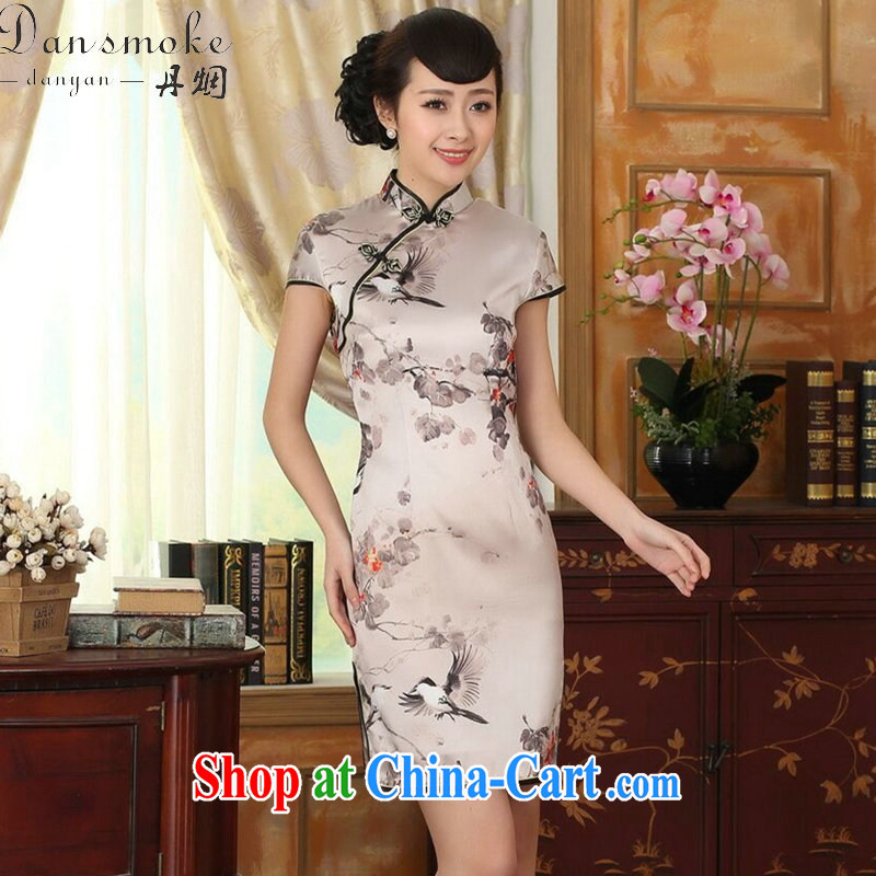 Dan smoke summer Women's clothes silk retro sauna silk poster stretch Satin beauty double short cheongsam Chinese improved dress such as the color 2 XL