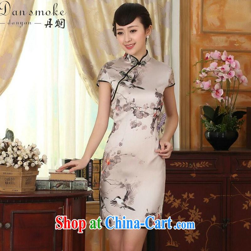 Bin Laden smoke-free summer dress silk retro sauna silk poster stretch Satin beauty double short cheongsam Chinese improved dress such as the color 2 XL, Bin Laden smoke, shopping on the Internet