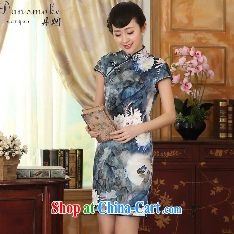 Dan smoke Lotus Pond new summer Women's clothes Chinese Antique upscale silk sauna silk double dinner short dresses such as the color 2 XL