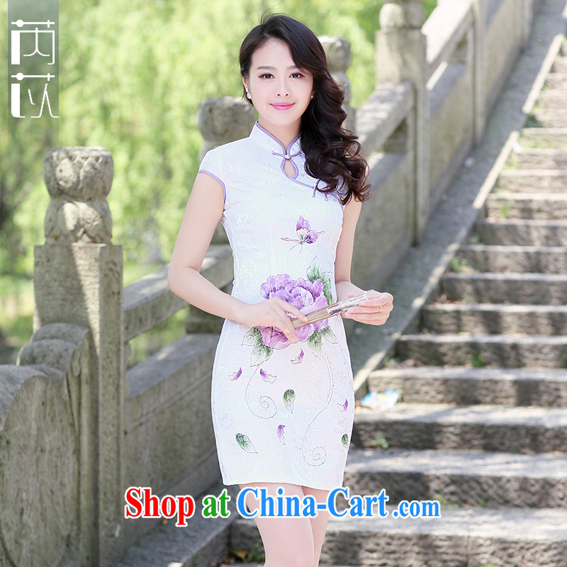 Rawnie_close by summer 2015 new retro short-sleeved cotton cultivating graphics thin improved daily short qipao is a tight purple Peony XXL