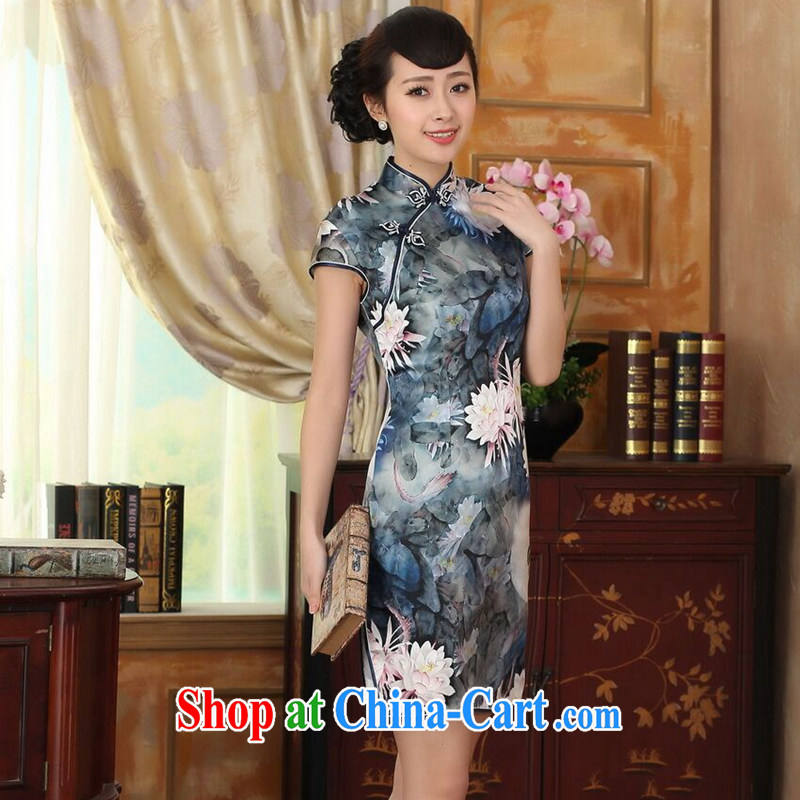 Find Sophie Lotus Pond new summer Women's clothes Chinese Antique upscale silk sauna silk double dinner short cheongsam as color 2XL