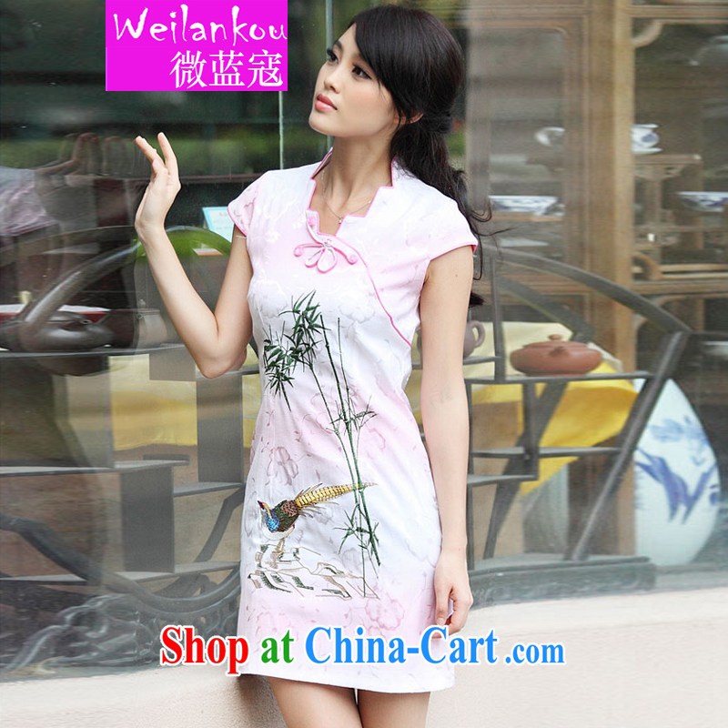 Micro-blue Curtis 2015 New Female with short-sleeved retro cheongsam dress summer fashion dresses pink XL