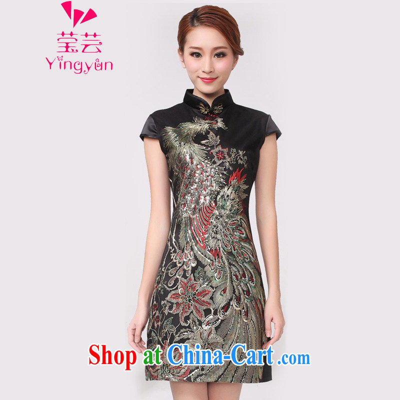 Anna soon summer 2015 New Beauty festive embroidered cheongsam YQP 01_ black XL