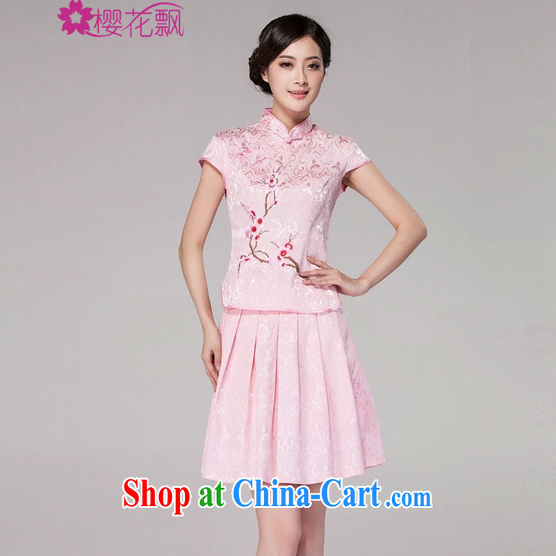 Cherry blossoms floating 2015 spring and summer new female Chinese qipao day dresses high-end retro style two-piece with pink XXL