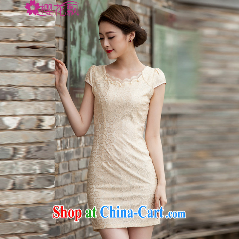 Cherry blossoms floating 2015 spring and summer new, lace dresses and stylish beauty dress Openwork hook flower yellow XL
