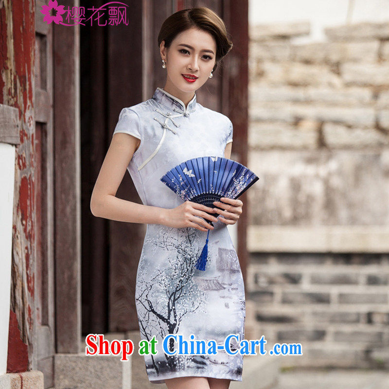Cherry blossoms floating painting cheongsam dress retro fashion China wind daily outfit XL