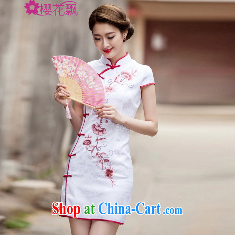 Cherry blossoms floating 2015 spring and summer new Chinese Antique improved stylish short daily beauty cheongsam dress white L